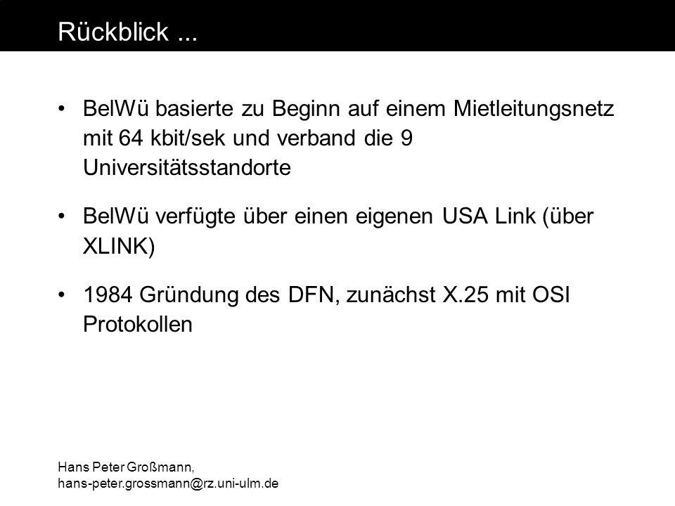 Hans Peter Großmann, hans-peter.grossmann@rz.uni-ulm.de Rückblick... BelWü basierte zu Beginn auf einem Mietleitungsnetz mit 64 kbit/sek und verband d