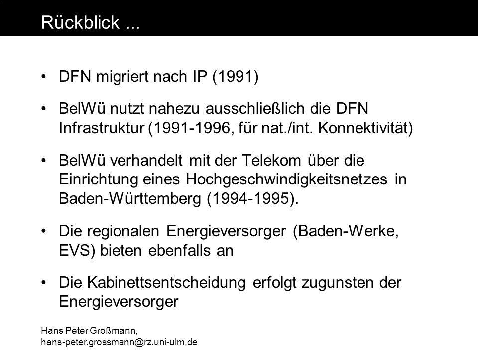 Hans Peter Großmann, hans-peter.grossmann@rz.uni-ulm.de Rückblick... DFN migriert nach IP (1991) BelWü nutzt nahezu ausschließlich die DFN Infrastrukt