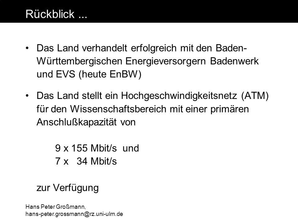 Hans Peter Großmann, hans-peter.grossmann@rz.uni-ulm.de Rückblick... Das Land verhandelt erfolgreich mit den Baden- Württembergischen Energieversorger
