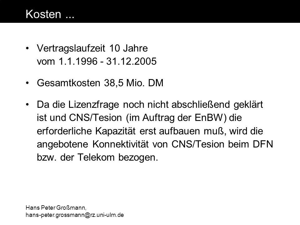 Hans Peter Großmann, hans-peter.grossmann@rz.uni-ulm.de Kosten... Vertragslaufzeit 10 Jahre vom 1.1.1996 - 31.12.2005 Gesamtkosten 38,5 Mio. DM Da die