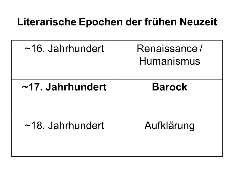 Literarische Epochen der frühen Neuzeit ~16. JahrhundertRenaissance / Humanismus ~17. JahrhundertBarock ~18. JahrhundertAufklärung
