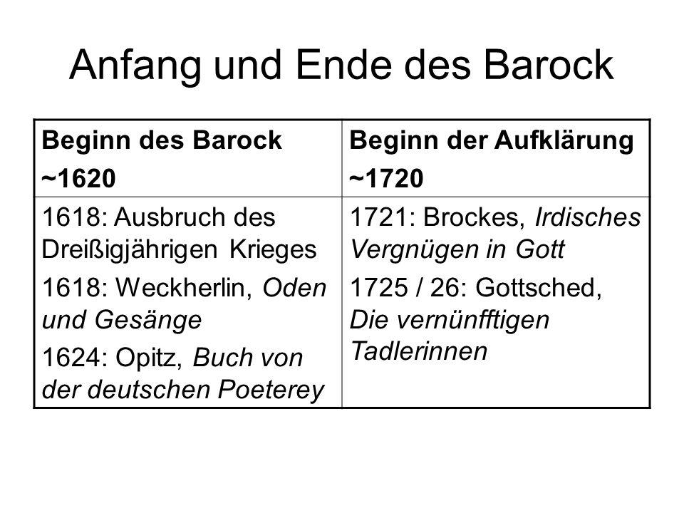 Anfang und Ende des Barock Beginn des Barock ~1620 Beginn der Aufklärung ~1720 1618: Ausbruch des Dreißigjährigen Krieges 1618: Weckherlin, Oden und G