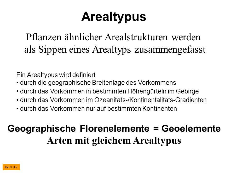Arealtypus Pflanzen ähnlicher Arealstrukturen werden als Sippen eines Arealtyps zusammengefasst Ein Arealtypus wird definiert durch die geographische