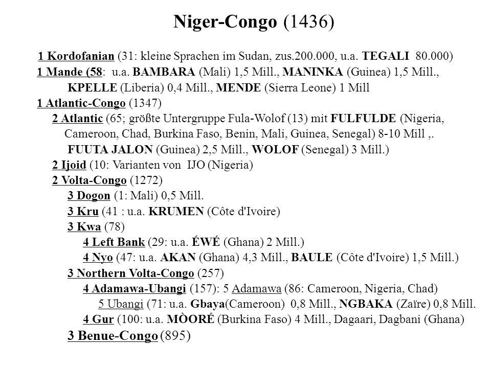 Niger-Congo (1436) 1 Kordofanian (31: kleine Sprachen im Sudan, zus.200.000, u.a.