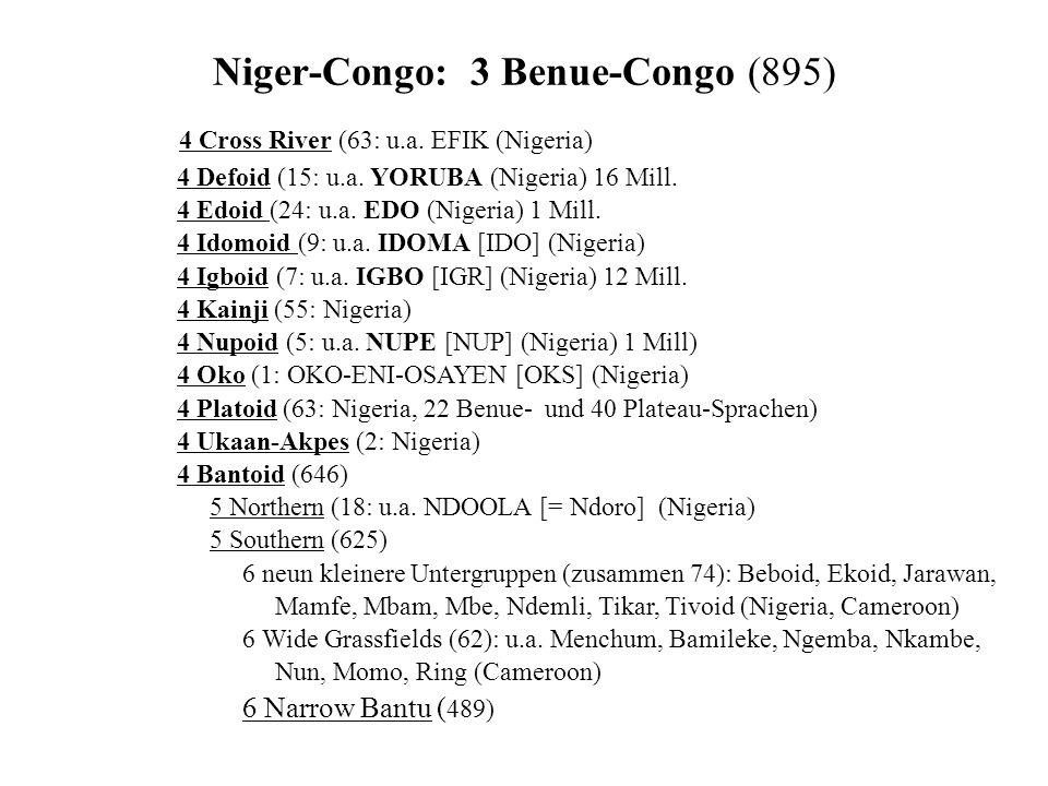 Niger-Congo: 3 Benue-Congo (895) 4 Cross River (63: u.a.
