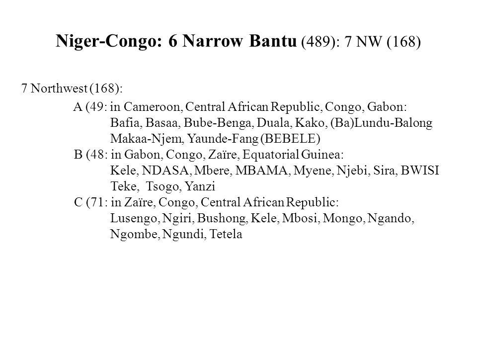 Niger-Congo: 6 Narrow Bantu (489): 7 NW (168) 7 Northwest (168): A (49: in Cameroon, Central African Republic, Congo, Gabon: Bafia, Basaa, Bube-Benga, Duala, Kako, (Ba)Lundu-Balong Makaa-Njem, Yaunde-Fang (BEBELE) B (48: in Gabon, Congo, Zaïre, Equatorial Guinea: Kele, NDASA, Mbere, MBAMA, Myene, Njebi, Sira, BWISI Teke, Tsogo, Yanzi C (71: in Zaïre, Congo, Central African Republic: Lusengo, Ngiri, Bushong, Kele, Mbosi, Mongo, Ngando, Ngombe, Ngundi, Tetela