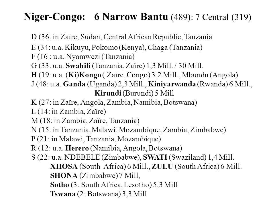 Niger-Congo: 6 Narrow Bantu (489): 7 Central (319) D (36: in Zaïre, Sudan, Central African Republic, Tanzania E (34: u.a.