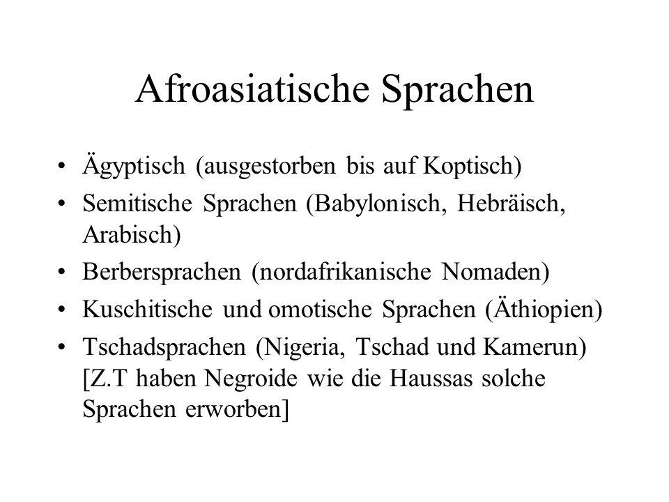 Afro-Asiatic: 1 Egyptian (1: COPTIC (Egypt) als liturgische Sprache, Ancient Egyptian +), 1 Semitic (73) 2 East : Akkadian (Assyrian, Babylonian) + 2 Central (55) 3 Aramaic (16) [Neubabylonisch, Sprache von Jesus, Persisches Reich] 4 Eastern (14) 5 Central (11: Iraq, Israel, Syria, u.a.