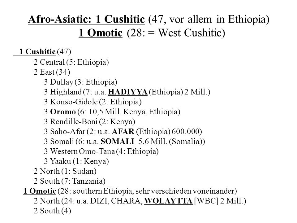 Afro-Asiatic: 1 Cushitic (47, vor allem in Ethiopia) 1 Omotic (28: = West Cushitic) 1 Cushitic (47) 2 Central (5: Ethiopia) 2 East (34) 3 Dullay (3: E