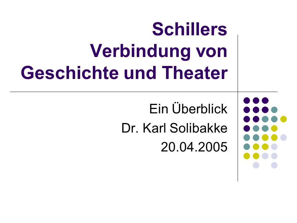 Schillers Verbindung von Geschichte und Theater Ein Überblick Dr. Karl Solibakke 20.04.2005
