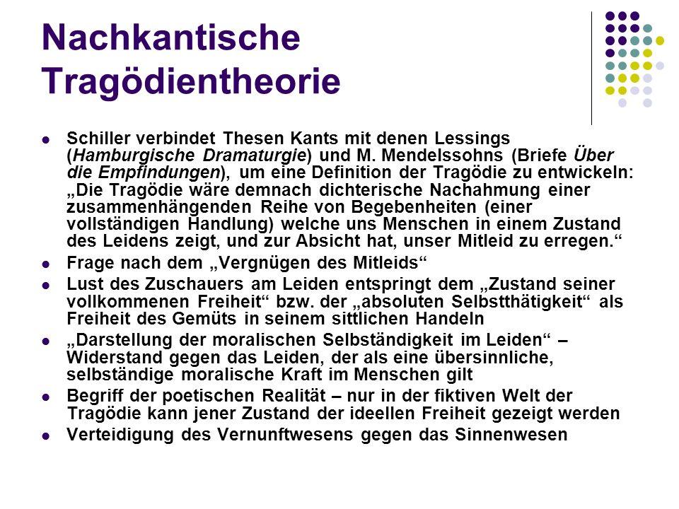 Nachkantische Tragödientheorie Schiller verbindet Thesen Kants mit denen Lessings (Hamburgische Dramaturgie) und M.