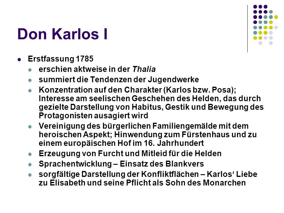 Don Karlos I Erstfassung 1785 erschien aktweise in der Thalia summiert die Tendenzen der Jugendwerke Konzentration auf den Charakter (Karlos bzw.