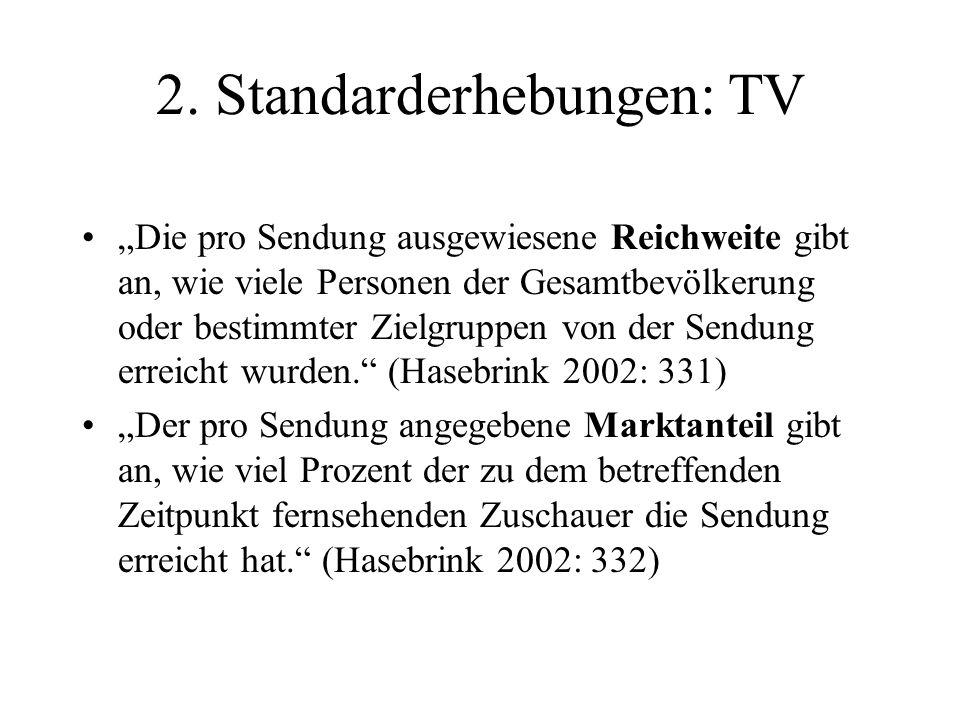 2. Standarderhebungen: TV Die pro Sendung ausgewiesene Reichweite gibt an, wie viele Personen der Gesamtbevölkerung oder bestimmter Zielgruppen von de