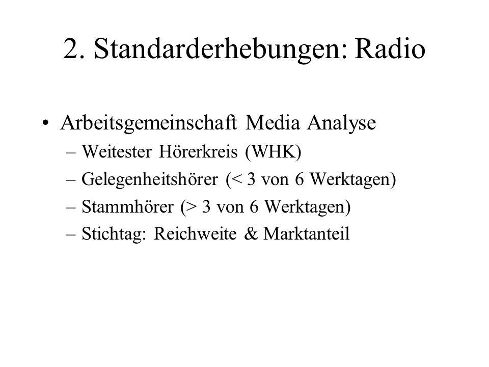 2. Standarderhebungen: Radio Arbeitsgemeinschaft Media Analyse –Weitester Hörerkreis (WHK) –Gelegenheitshörer (< 3 von 6 Werktagen) –Stammhörer (> 3 v