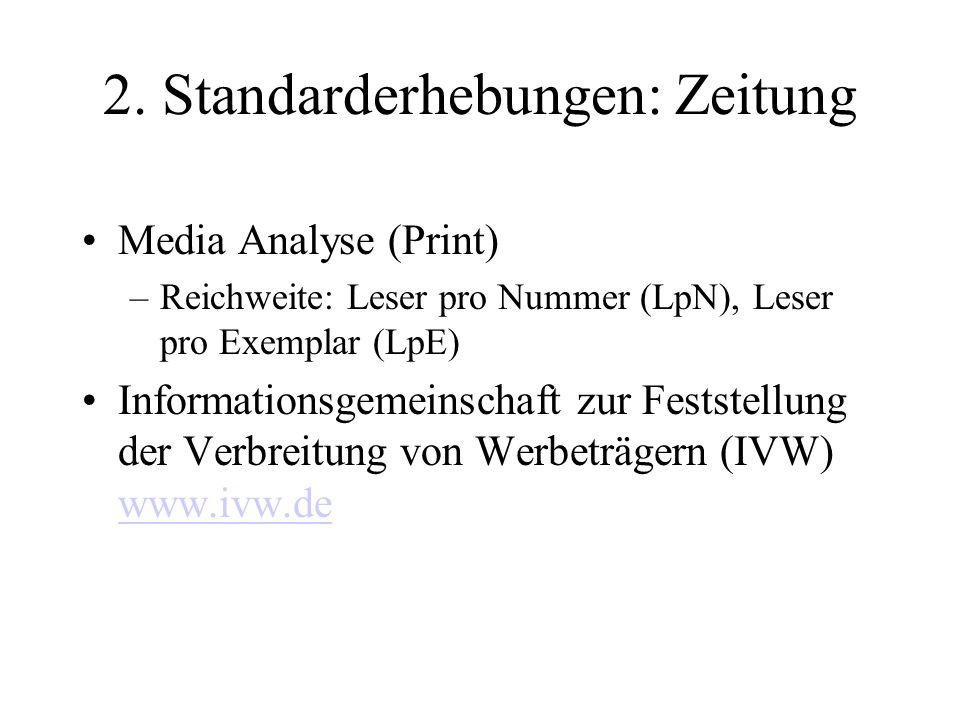 2. Standarderhebungen: Zeitung Media Analyse (Print) –Reichweite: Leser pro Nummer (LpN), Leser pro Exemplar (LpE) Informationsgemeinschaft zur Festst