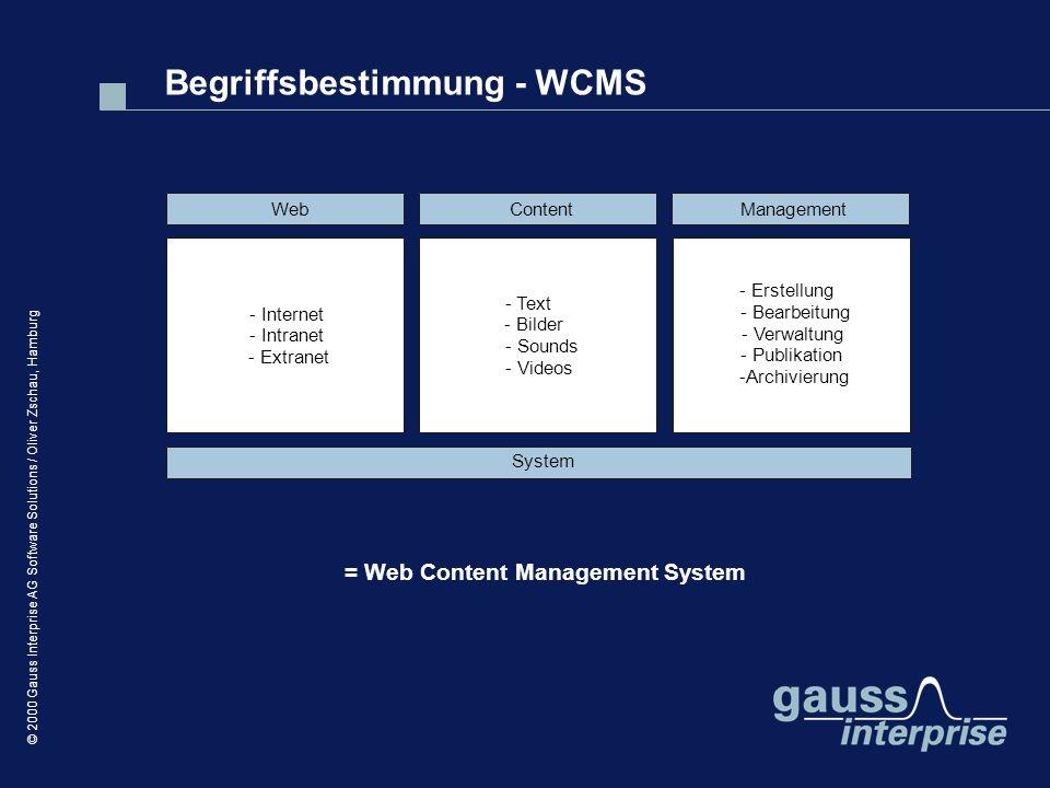 © 2000 Gauss Interprise AG Software Solutions / Oliver Zschau, Hamburg Web - Internet - Intranet - Extranet Content - Text - Bilder - Sounds - Videos