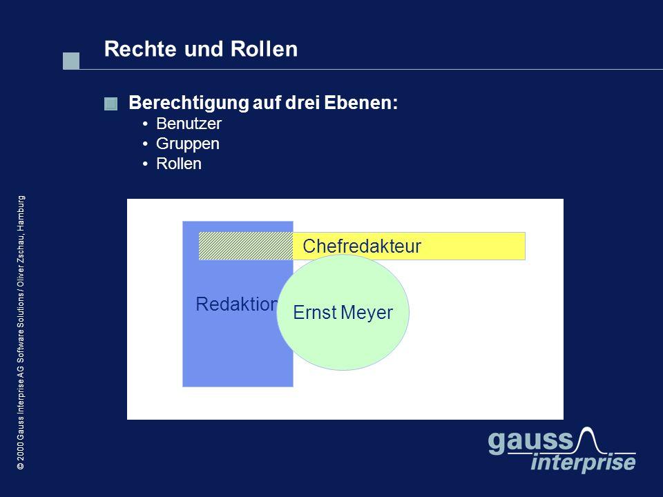 © 2000 Gauss Interprise AG Software Solutions / Oliver Zschau, Hamburg Berechtigung auf drei Ebenen: Benutzer Gruppen Rollen Redaktion Chefredakteur E