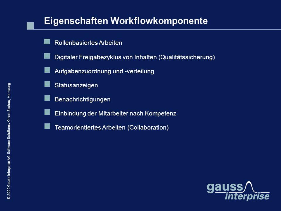 © 2000 Gauss Interprise AG Software Solutions / Oliver Zschau, Hamburg Eigenschaften Workflowkomponente Rollenbasiertes Arbeiten Digitaler Freigabezyk