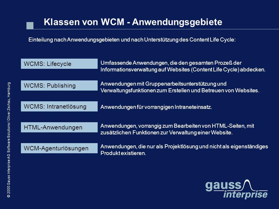 © 2000 Gauss Interprise AG Software Solutions / Oliver Zschau, Hamburg WCMS: Lifecycle Einteilung nach Anwendungsgebieten und nach Unterstützung des C