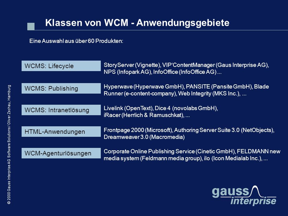 © 2000 Gauss Interprise AG Software Solutions / Oliver Zschau, Hamburg WCMS: Lifecycle Eine Auswahl aus über 60 Produkten: WCMS: Publishing WCMS: Intranetlösung HTML-Anwendungen WCM-Agenturlösungen StoryServer (Vignette), VIPContentManager (Gaus Interprise AG), NPS (Infopark AG), InfoOffice (InfoOffice AG)...