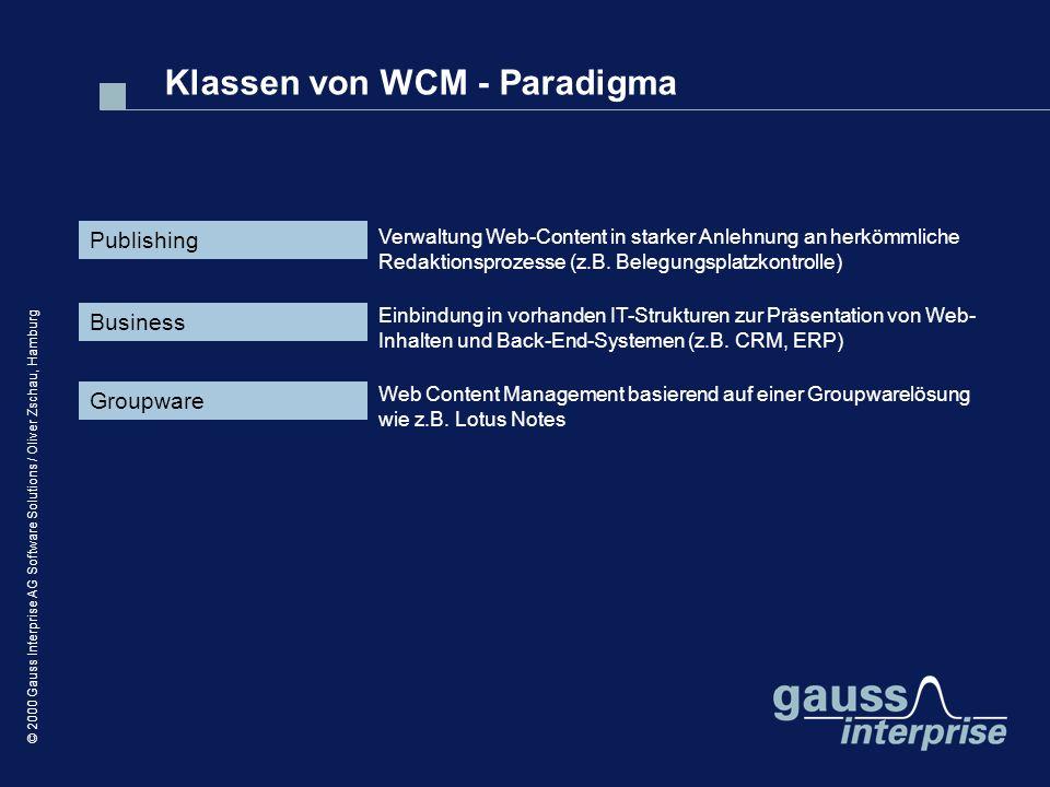 © 2000 Gauss Interprise AG Software Solutions / Oliver Zschau, Hamburg Klassen von WCM - Paradigma Publishing Business Groupware Verwaltung Web-Conten