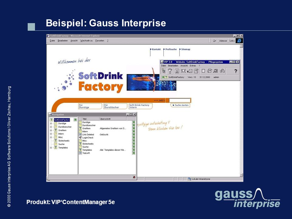 © 2000 Gauss Interprise AG Software Solutions / Oliver Zschau, Hamburg Beispiel: Gauss Interprise Produkt: VIPContentManager 5e