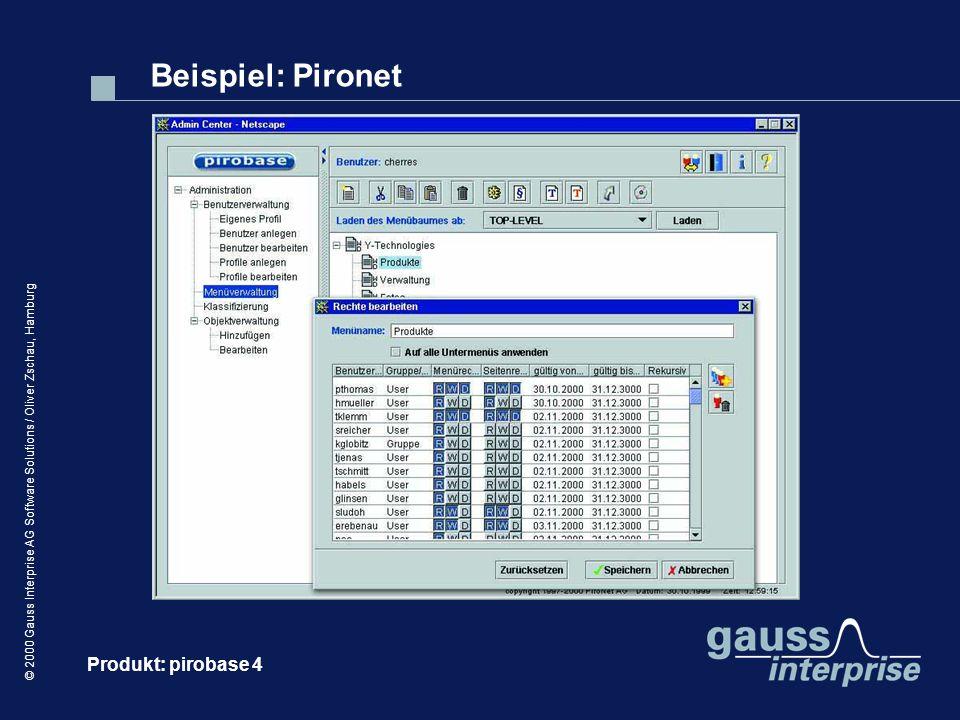 © 2000 Gauss Interprise AG Software Solutions / Oliver Zschau, Hamburg Beispiel: Pironet Produkt: pirobase 4