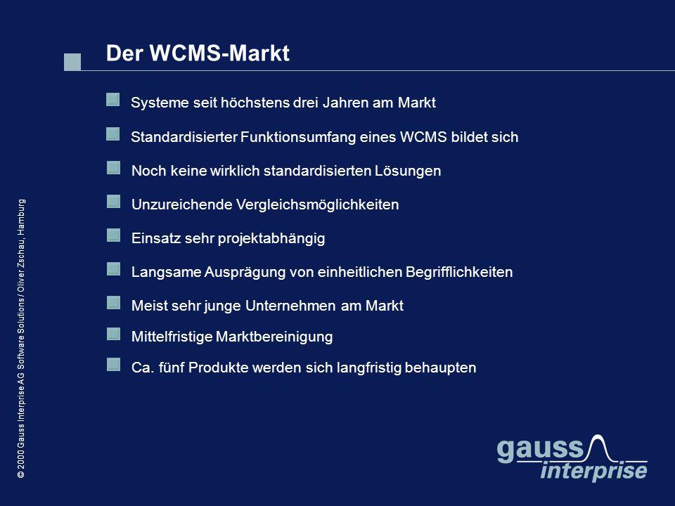 © 2000 Gauss Interprise AG Software Solutions / Oliver Zschau, Hamburg Der WCMS-Markt Systeme seit höchstens drei Jahren am Markt Standardisierter Fun