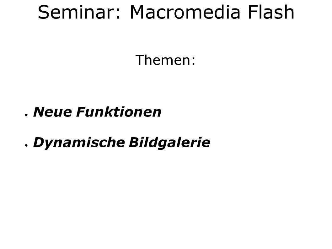 Themen: Neue Funktionen Dynamische Bildgalerie Seminar: Macromedia Flash
