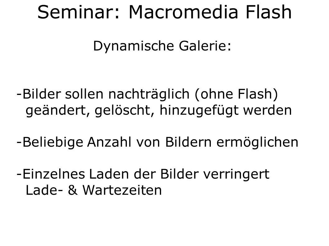 Dynamische Galerie: -Bilder sollen nachträglich (ohne Flash) geändert, gelöscht, hinzugefügt werden -Beliebige Anzahl von Bildern ermöglichen -Einzelnes Laden der Bilder verringert Lade- & Wartezeiten