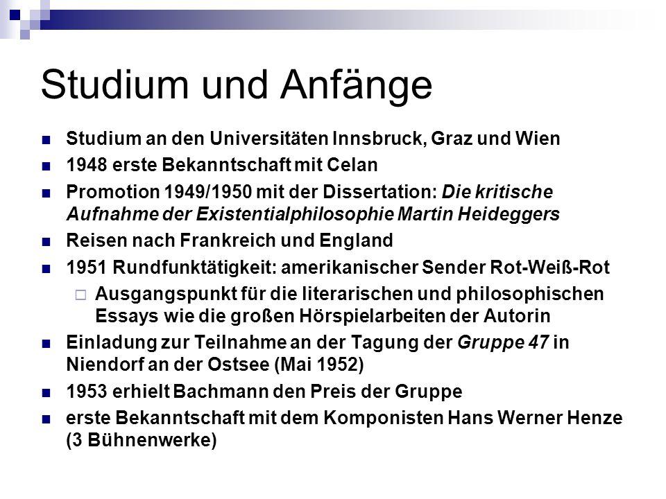 Studium und Anfänge Studium an den Universitäten Innsbruck, Graz und Wien 1948 erste Bekanntschaft mit Celan Promotion 1949/1950 mit der Dissertation: