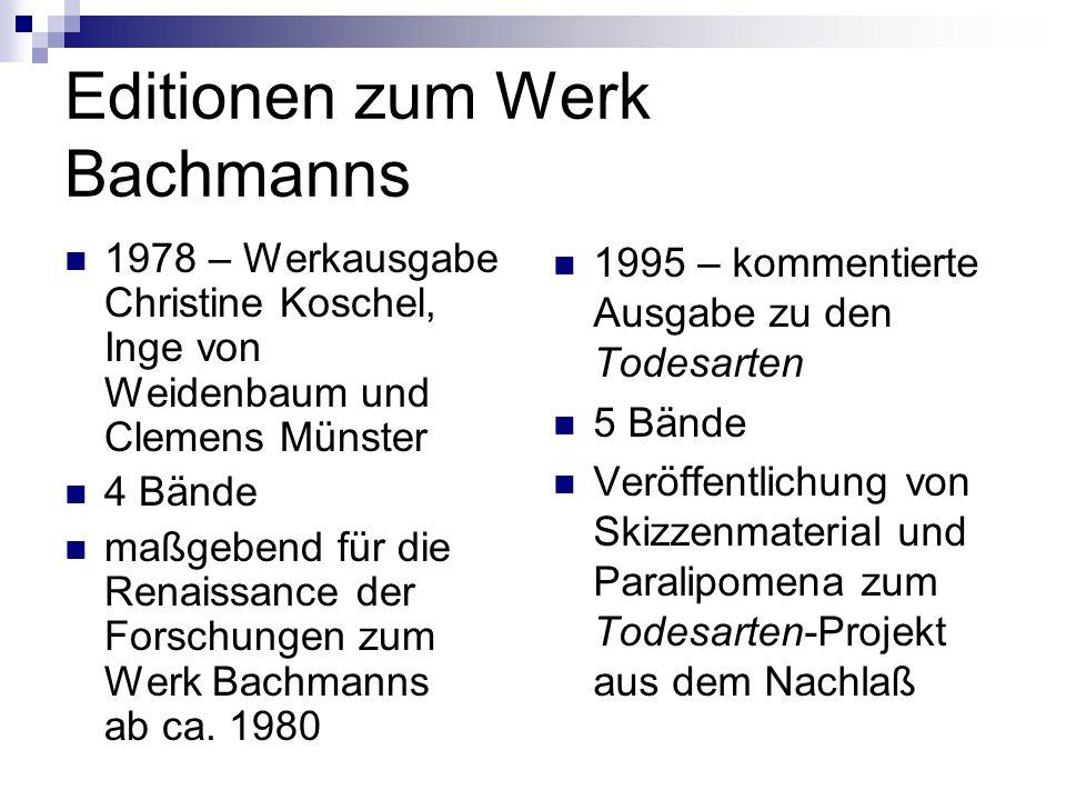 Werke Ingeborg Bachmanns (Veröffentlichungen zu Lebzeiten der Autorin) Die gestundete Zeit (1953 Gedichte ) Die Anrufung des großen Bären (1956 Gedichte ) Das dreißigste Jahr (1961 Erzählband – 7 Erz.