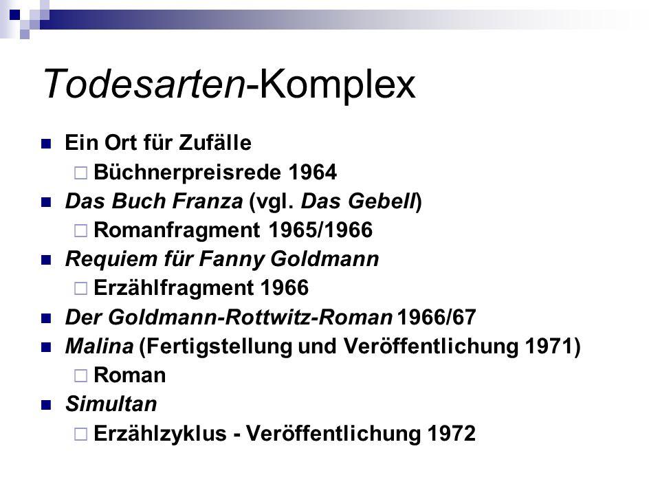 Todesarten-Komplex Ein Ort für Zufälle Büchnerpreisrede 1964 Das Buch Franza (vgl. Das Gebell) Romanfragment 1965/1966 Requiem für Fanny Goldmann Erzä