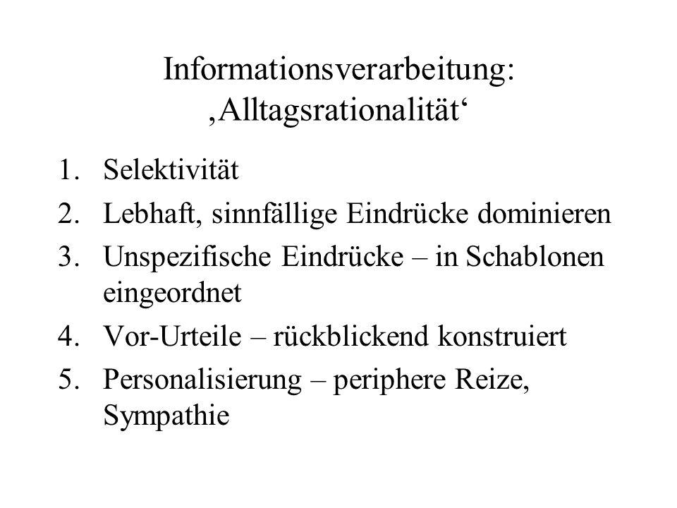 Informationsverarbeitung: Alltagsrationalität 1.Selektivität 2.Lebhaft, sinnfällige Eindrücke dominieren 3.Unspezifische Eindrücke – in Schablonen ein