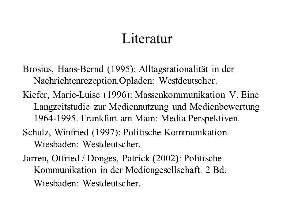 Literatur Brosius, Hans Bernd (1995): Alltagsrationalität in der Nachrichtenrezeption.Opladen: Westdeutscher. Kiefer, Marie Luise (1996): Massenkommun