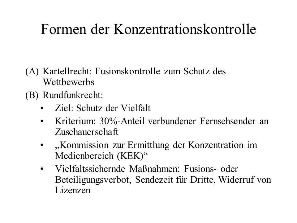Formen der Konzentrationskontrolle (A)Kartellrecht: Fusionskontrolle zum Schutz des Wettbewerbs (B)Rundfunkrecht: Ziel: Schutz der Vielfalt Kriterium: