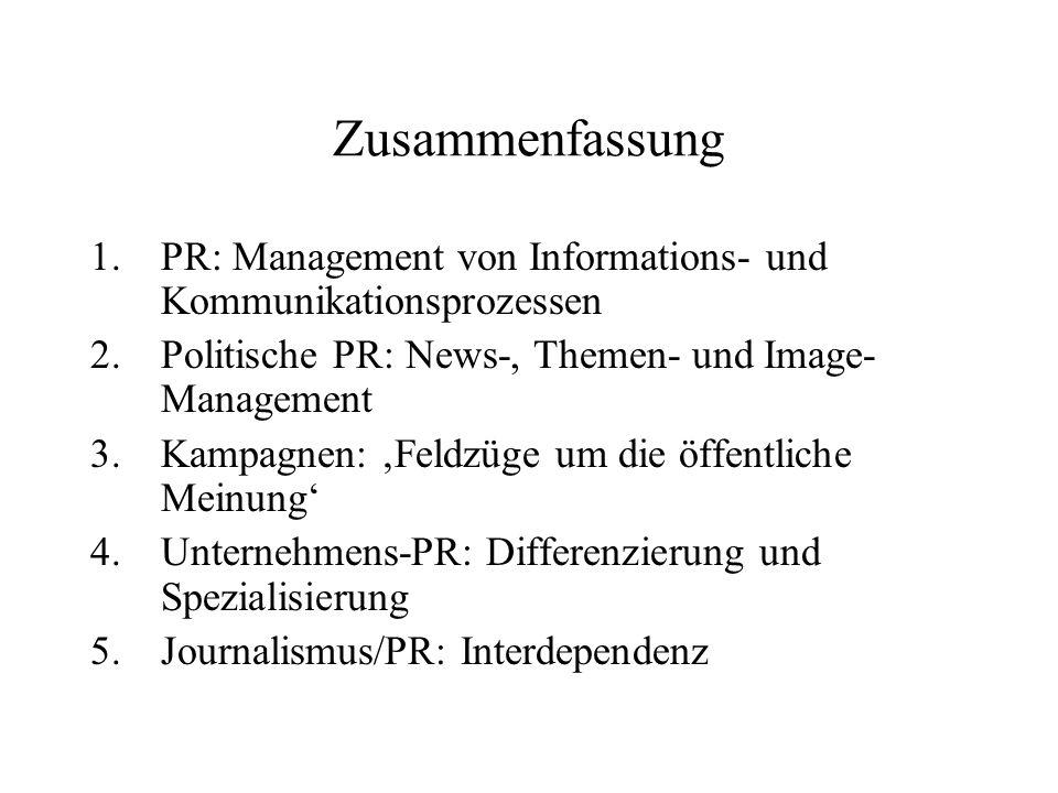 Zusammenfassung 1.PR: Management von Informations- und Kommunikationsprozessen 2.Politische PR: News-, Themen- und Image- Management 3.Kampagnen: Feld