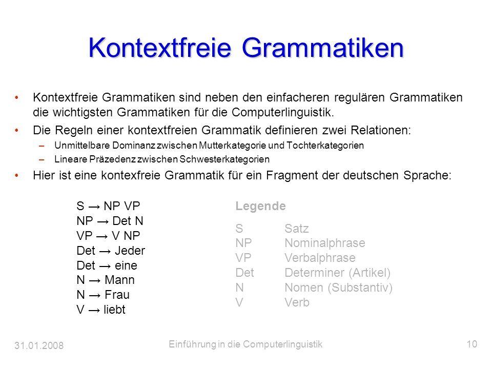 31.01.2008 Einführung in die Computerlinguistik10 Kontextfreie Grammatiken Kontextfreie Grammatiken sind neben den einfacheren regulären Grammatiken d