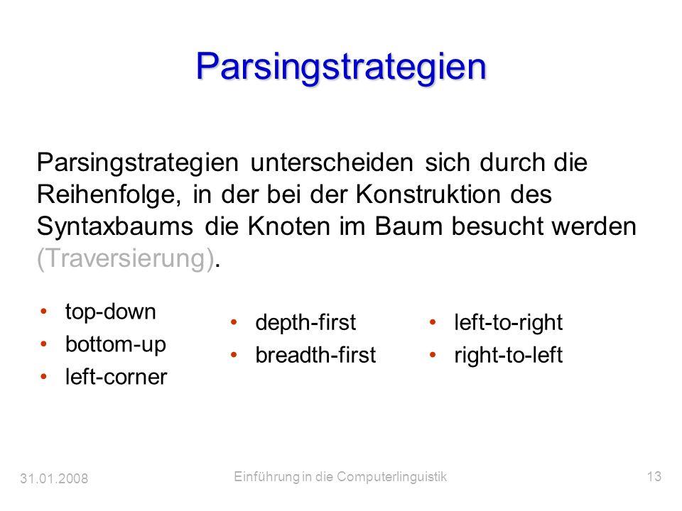 31.01.2008 Einführung in die Computerlinguistik13 Parsingstrategien top-down bottom-up left-corner Parsingstrategien unterscheiden sich durch die Reih