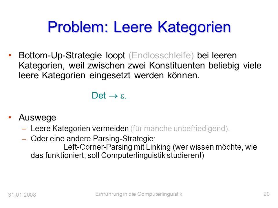 31.01.2008 Einführung in die Computerlinguistik20 Problem: Leere Kategorien Bottom-Up-Strategie loopt (Endlosschleife) bei leeren Kategorien, weil zwi