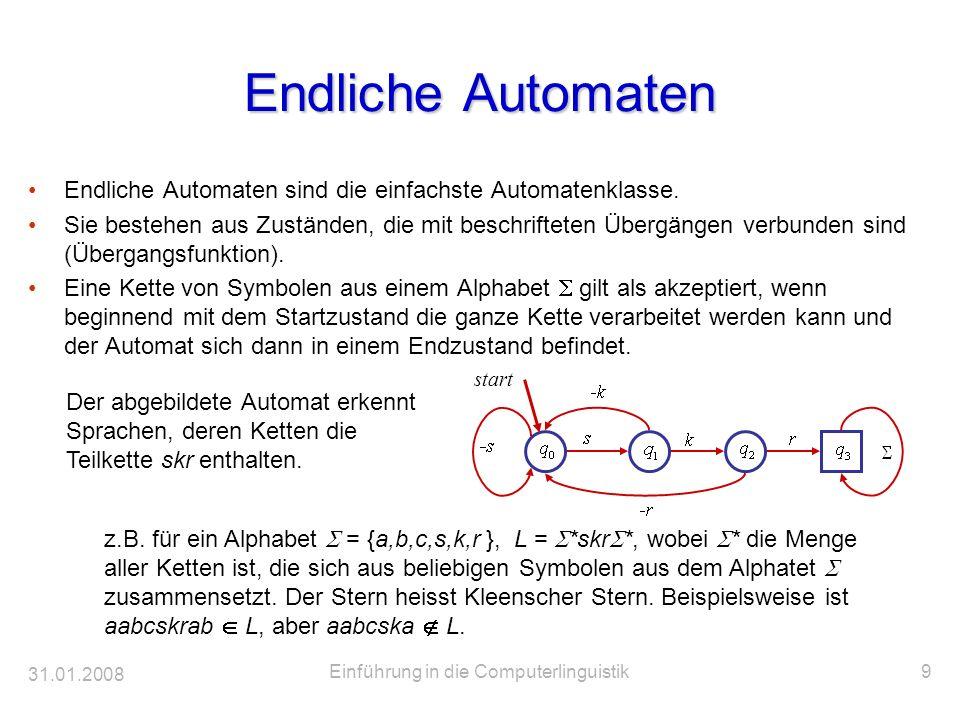 31.01.2008 Einführung in die Computerlinguistik9 Endliche Automaten Endliche Automaten sind die einfachste Automatenklasse. Sie bestehen aus Zuständen