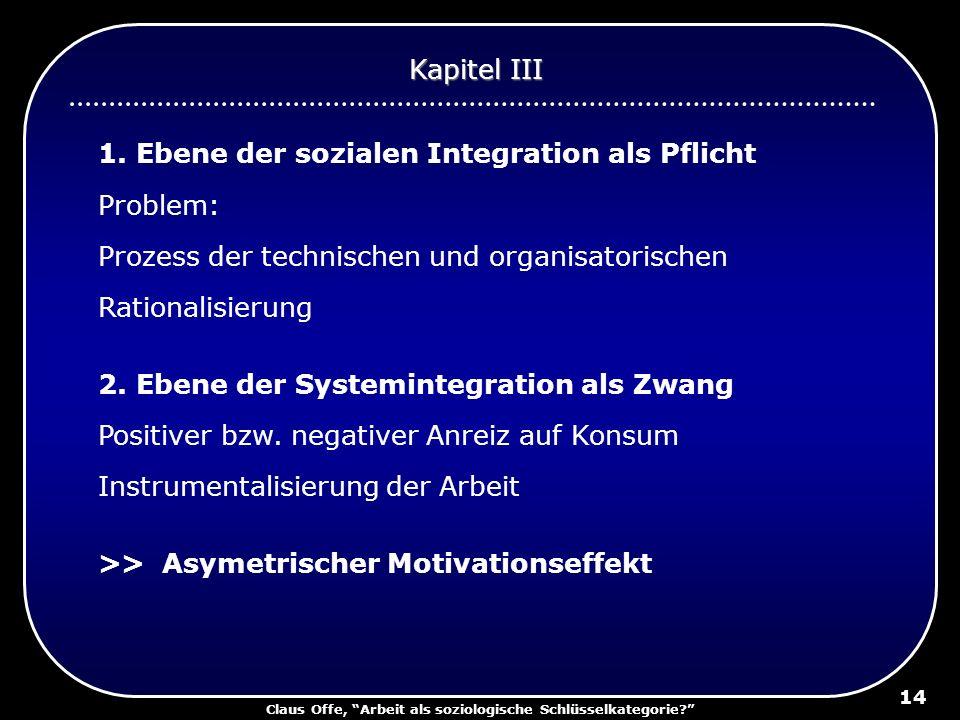 Claus Offe, Arbeit als soziologische Schlüsselkategorie? 14 1. Ebene der sozialen Integration als Pflicht Problem: Prozess der technischen und organis