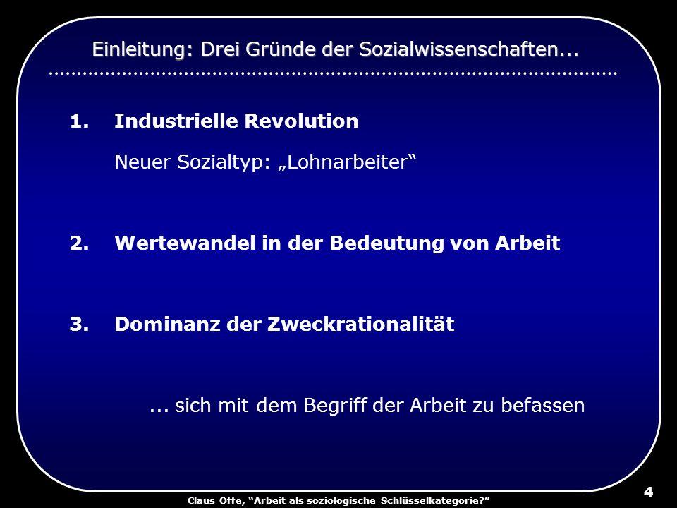 Claus Offe, Arbeit als soziologische Schlüsselkategorie? 4 1.Industrielle Revolution Neuer Sozialtyp: Lohnarbeiter 2.Wertewandel in der Bedeutung von