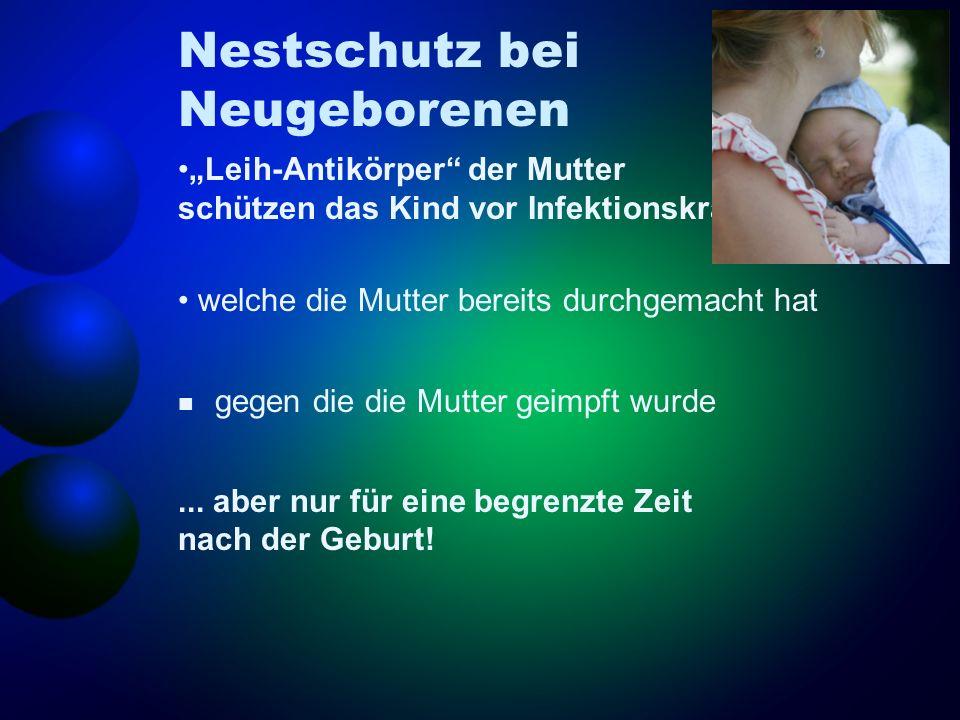 Nestschutz bei Neugeborenen Leih-Antikörper der Mutter schützen das Kind vor Infektionskrankheiten... welche die Mutter bereits durchgemacht hat gegen