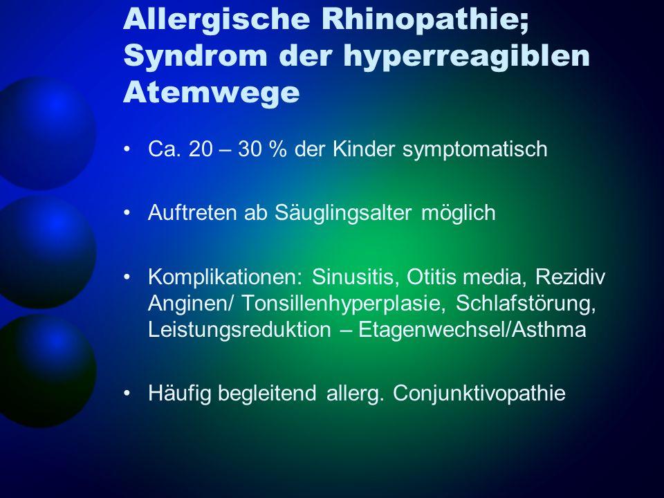 Allergische Rhinopathie; Syndrom der hyperreagiblen Atemwege Ca. 20 – 30 % der Kinder symptomatisch Auftreten ab Säuglingsalter möglich Komplikationen