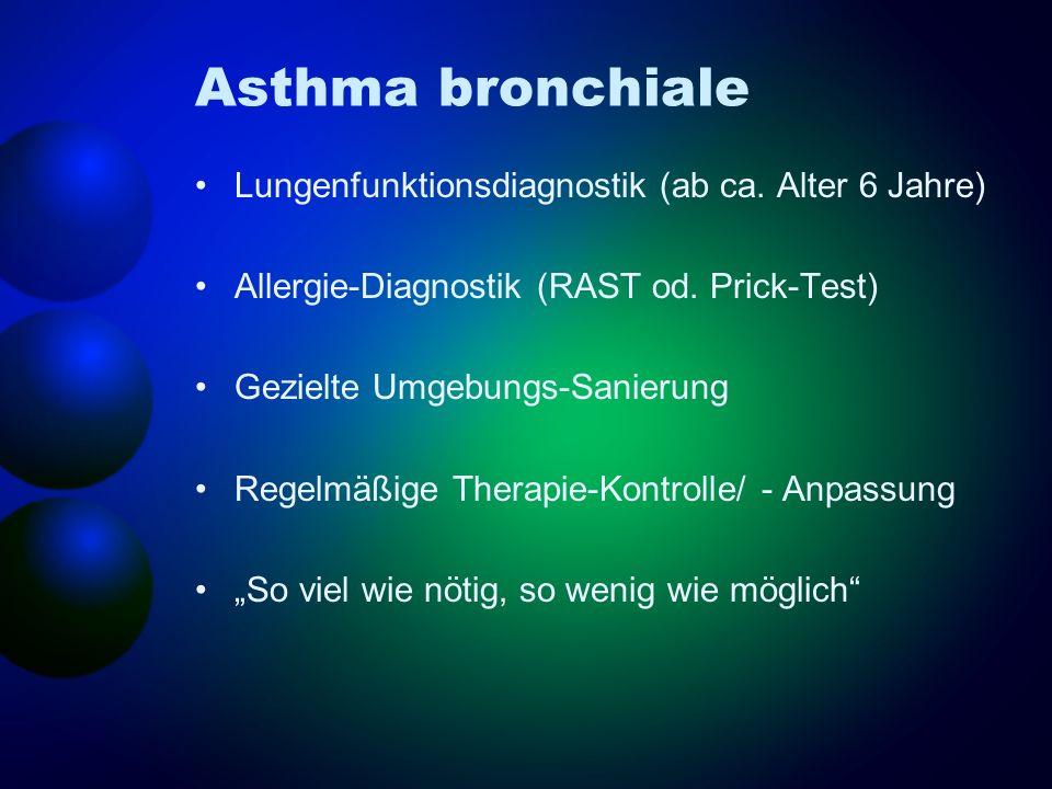 Asthma bronchiale Lungenfunktionsdiagnostik (ab ca. Alter 6 Jahre) Allergie-Diagnostik (RAST od. Prick-Test) Gezielte Umgebungs-Sanierung Regelmäßige