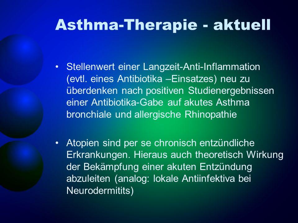 Asthma-Therapie - aktuell Stellenwert einer Langzeit-Anti-Inflammation (evtl. eines Antibiotika –Einsatzes) neu zu überdenken nach positiven Studiener