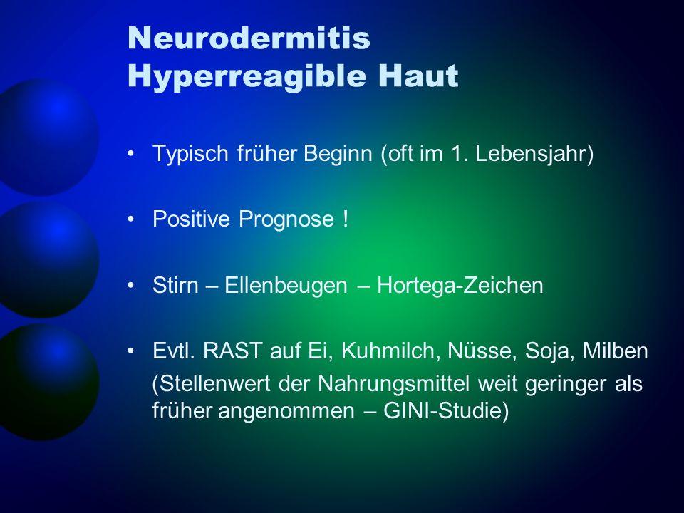 Neurodermitis Hyperreagible Haut Typisch früher Beginn (oft im 1. Lebensjahr) Positive Prognose ! Stirn – Ellenbeugen – Hortega-Zeichen Evtl. RAST auf