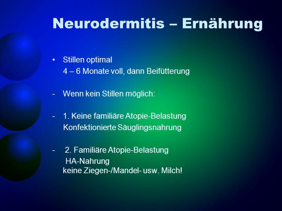 Neurodermitis – Ernährung Stillen optimal 4 – 6 Monate voll, dann Beifütterung -Wenn kein Stillen möglich: -1. Keine familiäre Atopie-Belastung Konfek