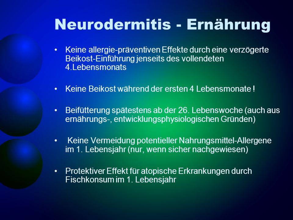 Neurodermitis - Ernährung Keine allergie-präventiven Effekte durch eine verzögerte Beikost-Einführung jenseits des vollendeten 4.Lebensmonats Keine Be